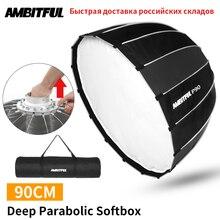 AMBITFUL przenośny P90 90CM szybko szybka instalacja głęboki paraboliczny Softbox Bowens Flash Speedlite reflektor studio Softbox