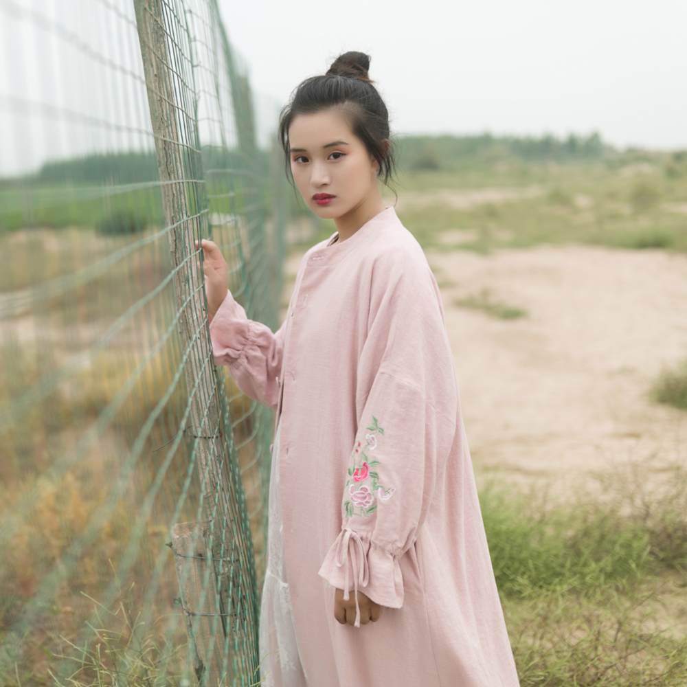MM201 New Arrival Autumn 2017 casual loose x long vintage floral embroidered pink linen trench coat women