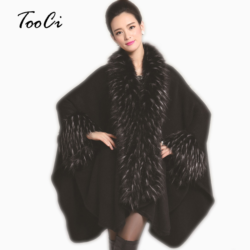 Autumn Winter Black Faux Fur Coat Imitation Ostrich Feather Poncho And Cape Outerwear Feminino Casaquinho Women Knitted Coat