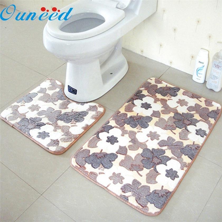 Zero 2PCS Rug Memory Foam Bathroom Rug Mat Floor Carpet Set
