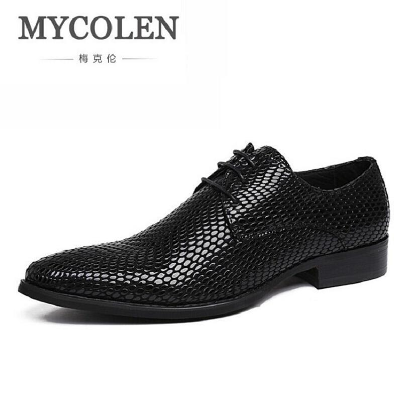 Mycolen Dedo Hombres Los Vestido Genuínos De Negócios Zapatos Couro Dos Sapatos Homens Vindima Preto Do Apontado Casamento Pé Frqx7F