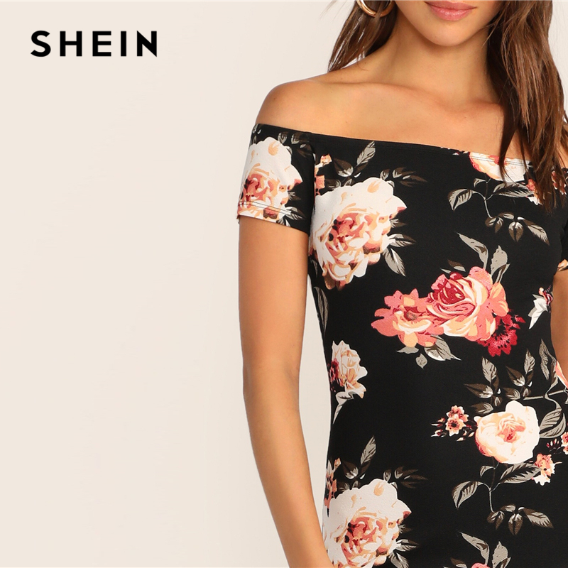 Image 5 - SHEIN Flower Print Bardot Pencil Dress Black Off the Shoulder Slim Women Summer Dress 2019 Sexy Cap Sleeve Bodycon Dresses-in Dresses from Women's Clothing