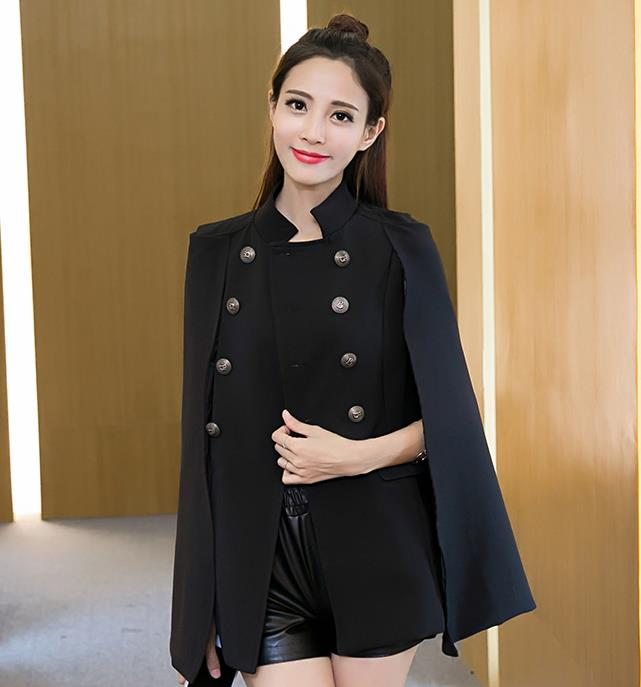 Двубортный Тренч Англия длинный рукав ветровка Женский костюм коготь поддельный комплект из двух предметов - Цвет: Черный