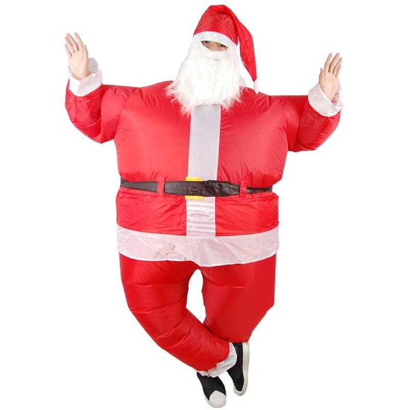 Grappige Kerst Opblaasbare Kerstman Kostuum Jumpsuit Air Fan Operated Blow Up Xmas Pak Christmas Party Jaarlijkse Koopjesverkoop