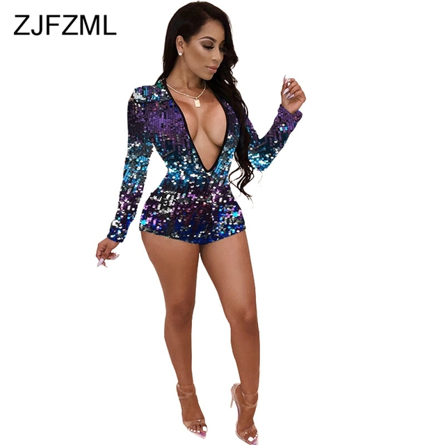 e21819471b7 Glitter Sequined Sexy Short Playsuit Women Deep V Neck Long Sleeve Bandage  Party Jumpsuit Casual Club Party One Piece Overall