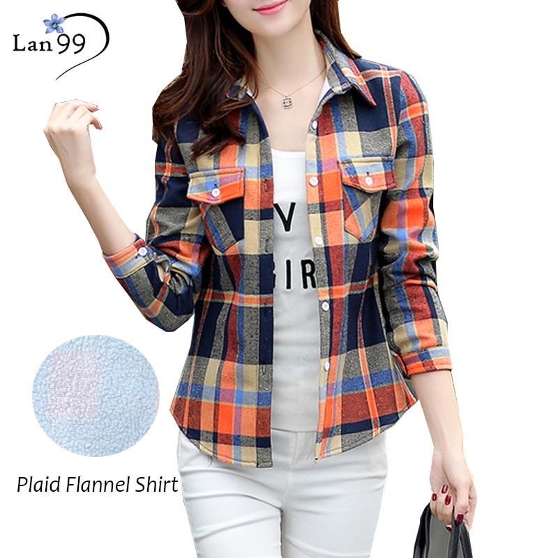 Plaid Flannel Shirt Fashion Plus Size Women Blouse Long
