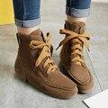 COOTELILI Mulheres Ankle Boots Botas Femininas Botas de Salto Plano Lace up Casual Sapatos de Camurça Mulher Marrom Preto Cinza Plus Size 35-46