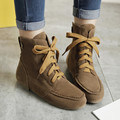 COOTELILI Women Ankle Boots Flat Heels Lace up Casual Shoes Woman Suede Boots Female Black Brown Gray Plus Size 35-46
