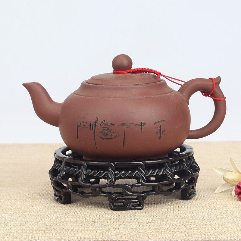 Acajou évider tout matériel théière base en bois massif vase rond en porcelaine en céramique réservoir de poisson vase bonsaï ornements base