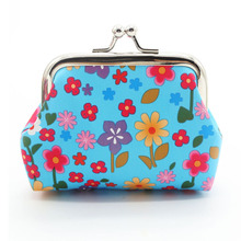 Fashion Mini Women Wallets PU Small Flower Buckle Coin Purse Ladies Clutch Little Wallet Girls Convenient