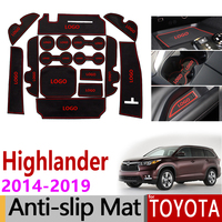 Anti Slip Gate Slot Mat Rubber Coaster for Toyota Highlander 2014 2015 2016 2017 2018 2019 XU50 Kluger Accessories Car Stickers