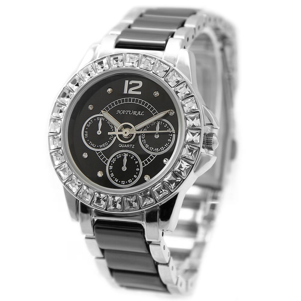FW830Q PNP Shiny Silver Watchcase Black Dial Ladies Women Ceramic Bracelet Watch