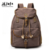 Manjianghong 2017 New Arrival Canvas Genuine Cow Leather Fashion Backpack Bag School Bag For Boy And