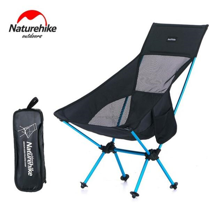 NatureHike Fishing Chair Portable Folding Chair Camping Hiking Gardening Barbecue Backrest Chair Folding Stool the silver chair