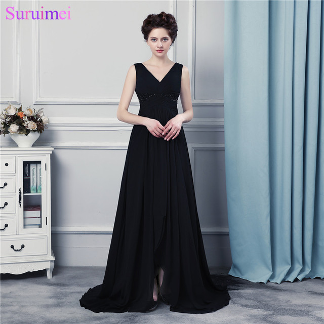 03cc46c685e1 Black Chiffon Evening Dresses V Neck With Spaghetti Straps Beaded Long  Formal Evening Gown Prom Dresses
