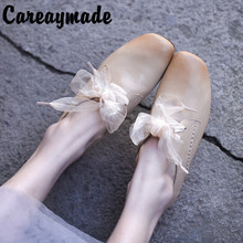 Careaymade-Original Spring soft sole sheepskin lace four-season shoes flat deep-mouthed single shoe woman flats