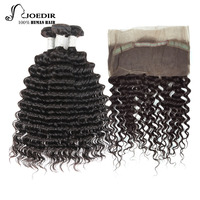 Joedir Hair Brazilian Deep Wave 4 Bundles Natural Black Color 14 To 26 Inch Non Remy With 360 Lace Closure Free Shipping