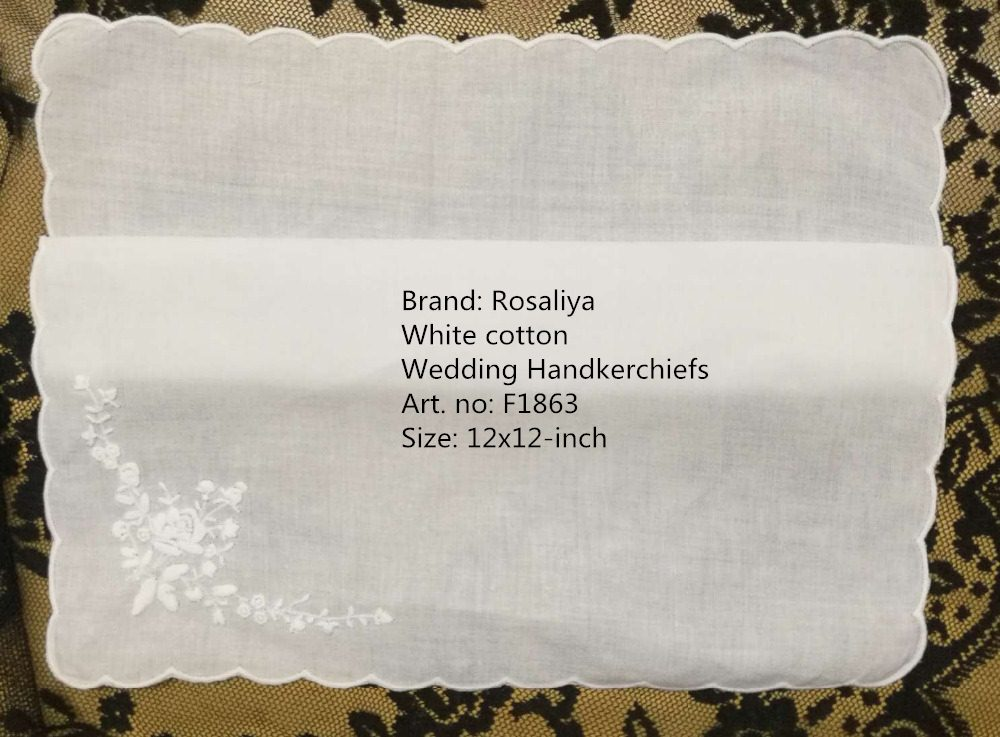 Set Of 12 Fashion White Cotton Ladies Handkerchiefs 12-inch Wedding Hankie Women Hanky With Scallooed Edges & Embroidered Floral