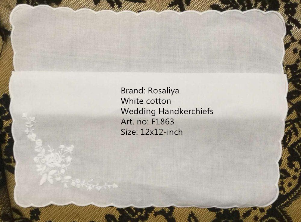 Set Of 12 Fashion White Cotton Ladies Handkerchiefs 12-inch Wedding Hankie Women Hanky With Scallooed Edges & Embroidered Floral