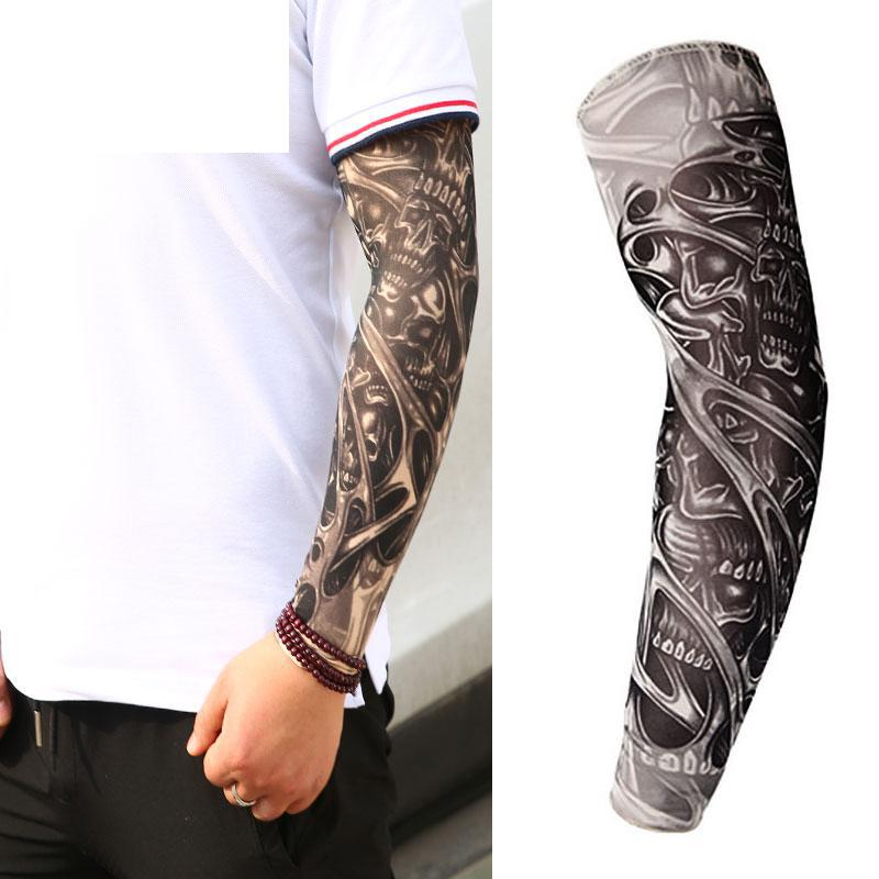 1 Pc 2019 Men Tattoo Arm Unisex UV Running Cycling Sports Elasticity Compression Arm Warmer Warmers Basketball Arm Sleeves Drop