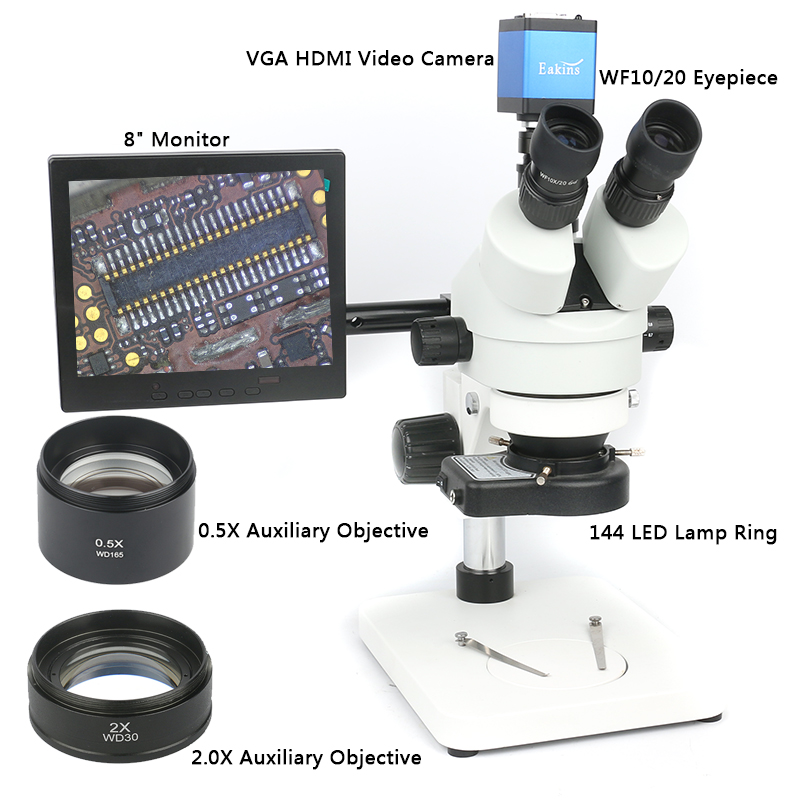 simul-focal Continuous Zoom 3.5~90X Trinocular Stereo Microscope 13MP 720P HDMI microscope camera +144 LED Light+8' Monitor simul focal 3 5x 90x trinocular stereo microscope hdmi vga industrial camera with adjustable metal holder 144 led ring light