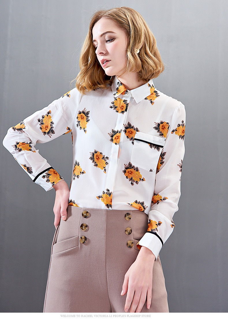 194b247b50 Estampado De 100 Blusa Dama Original Grace Oficina Seda Top Oversize  Primavera Patrón 2019 Gloria Elegante Blanco Camisa ...