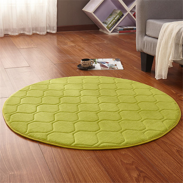 New Fashion Home Decor Memory Foam Solid Round Grid Mat Area Rug Anti Slip Bedroom  Rugs Mats Carpet For Living Room Outdoor