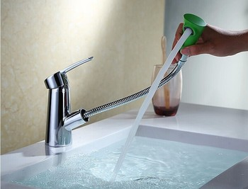 Full copper pull-out basin faucet