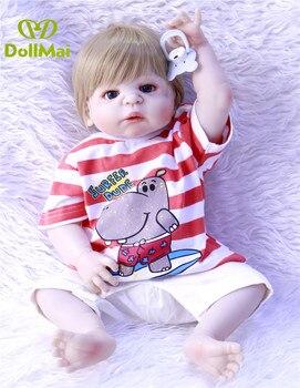 """Bebes reborn boy girl real dolls 23"""" full silicone reborn baby dolls for children birthday gift oyuncak bebek bonecas"""