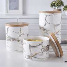 ФОТО chic marble pattern storage bottle jar with wood cover superior minimalist elegant luxury salt sugar storage jar home organizer