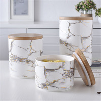 Chic Marble Pattern Storage Bottle Jar with Wood Cover Superior Minimalist Elegant Luxury Salt Sugar Storage Jar Home Organizer