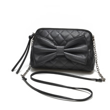 Zipper Bow PU Leather Women Messenger Bag Big Shoulder Bag Large Capacity Totes Famous Brand Bolsa