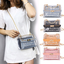 Women Lady Bag Clear Handbag Crossbody Composite Bag Transparent PVC Chain Pouch Tote New PO66