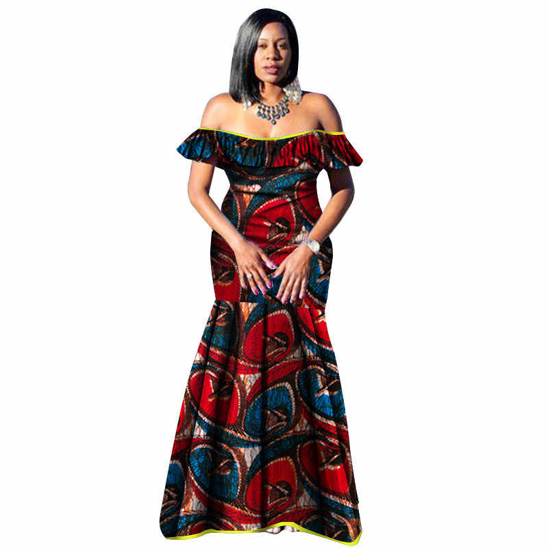 da259212e38ba 2019 African Dresses for Women Bazin Wax Print Plus Size African Clothing  Dashiki off Shoulder Party