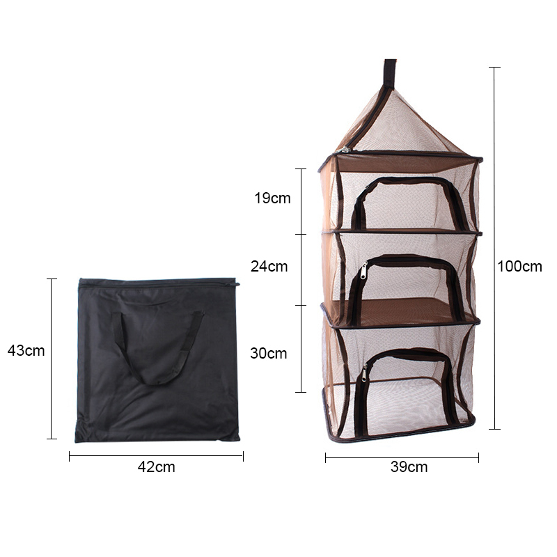 Image 5 - Camping Dry Net Storage Basket Shelf  Portable Folding 4 Layer Hanging Mesh Foods Dish Outdoor Campping BBQ Tableware Picnic Bag-in Picnic Bags from Sports & Entertainment