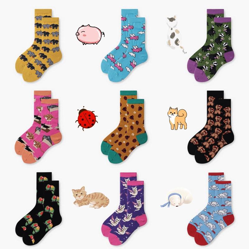 Женские короткие носки PEONFLY, креативные хлопковые носки в стиле Харадзюку С мультяшным котом и собаками, веселые Повседневные носки|Носки|   | АлиЭкспресс