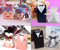 25 PAIRS Hot Selling  Bride Suit and Groom Dress Design Marriage Candies Storage Boxes Wedding Black White Candy Box