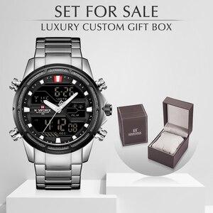 Image 1 - NAVIFORCE 男性腕時計スポーツクォーツデジタル男性の時計のボックスセットで販売男性軍事防水時計レロジオ Masculino