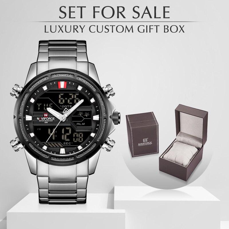 NAVIFORCE mężczyźni zegarki sportowe kwarcowy cyfrowy mężczyzna zegar z pudełkiem zestaw na sprzedaż mężczyzna wojskowy wodoodporny zegarek Relogio Masculino