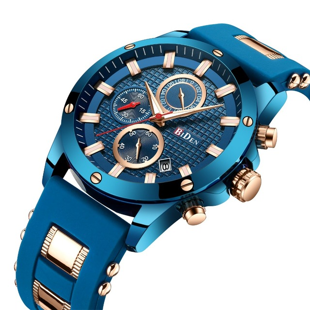 2019 Top Brand Luxury Blue Watch Men Quartz Analog Clock Silicone Strap 3 Sub-di