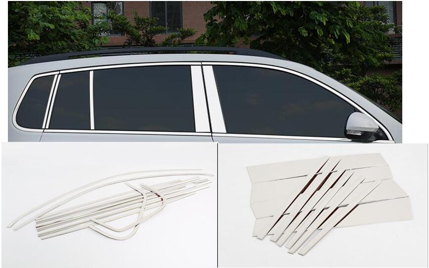 Stainless Full Set Car Window Trim Window Decoration Frame Trim Fit For VW Tiguan 2010 2011 2012 2013 2014 2015 2016Mirror styly for jac refine s5 mk1 mk2 2013 2014 2015 2016 stainless steel car styling auto full window cover trim garnish strips 20pcs set
