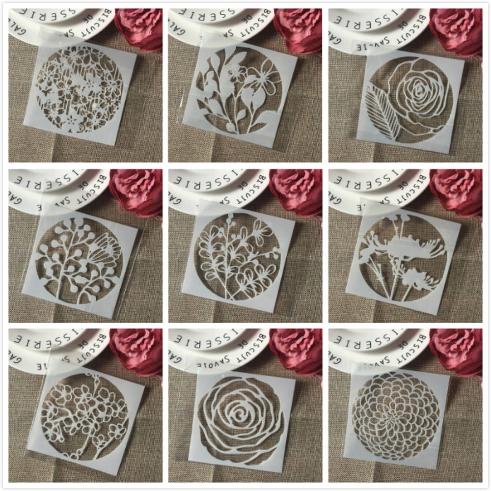 9Pcs/Lot 5inch Flower Daisy Rose DIY Layering Stencils Painting Scrapbook Coloring Embossing Album Decorative Card Template