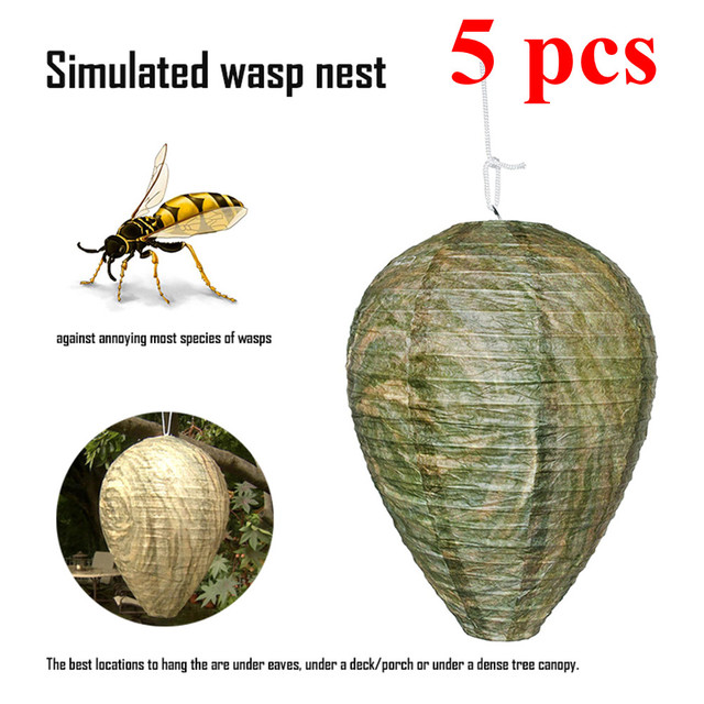 Дропшиппинг 5 шт. висит ОСА пчелы Fly Trap насекомых имитация осиное гнездо эффективным вредителей Управление натуральные нетоксичные для осы Hornet