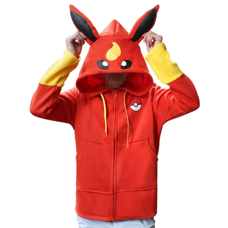 Totoro Pokemon Fire Ibe Ice Ibe Pikachu Pokemon Cartoon Sweater Thickening Zipper Autumn and Winter Style Red and Blue cos image