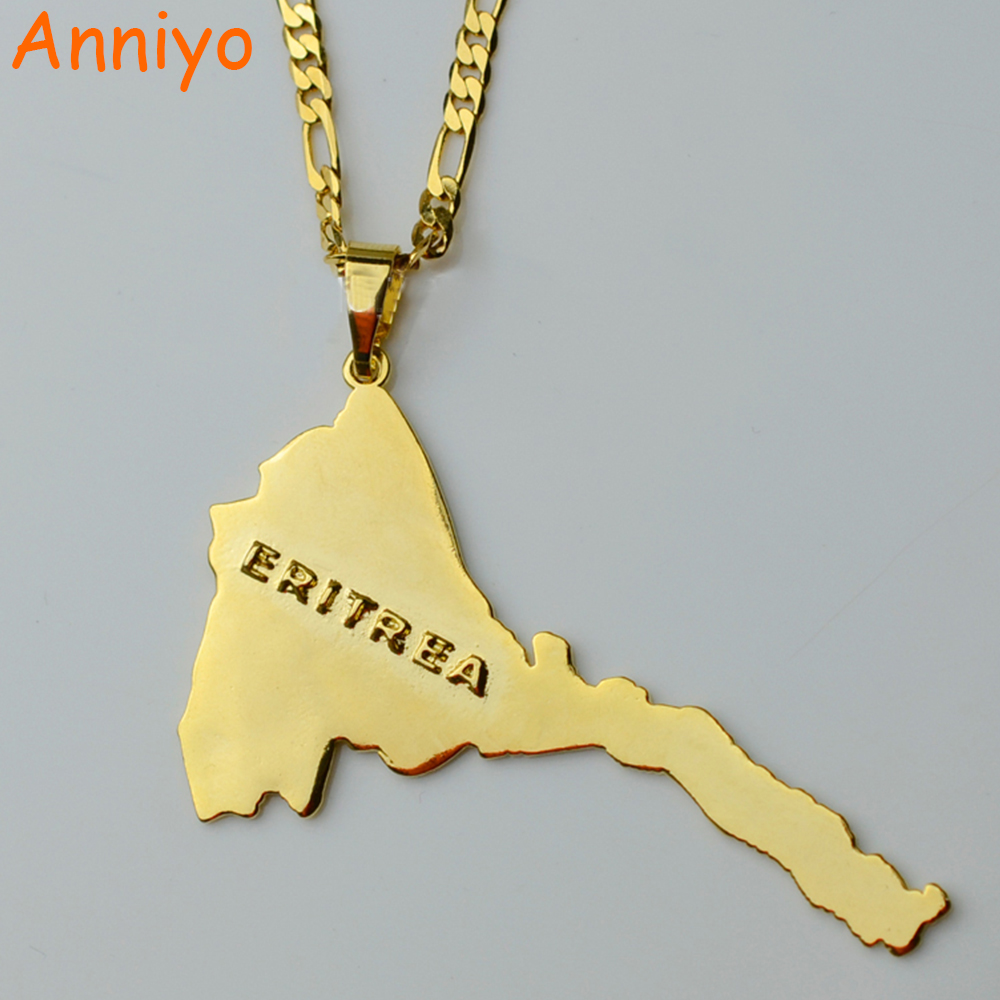 Anniyo Eritrea Map Pendants Necklaces Chain Women Men Map of Eritrea Gold Color Jewelry Africa Necklace
