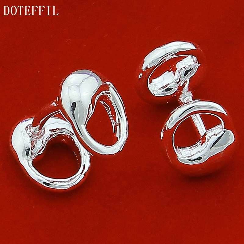DOTEFFIL 925 Sterling Silver Water Drop Solid Silver Cufflinks For Men Women Wedding Engagement Party Jewelry-2