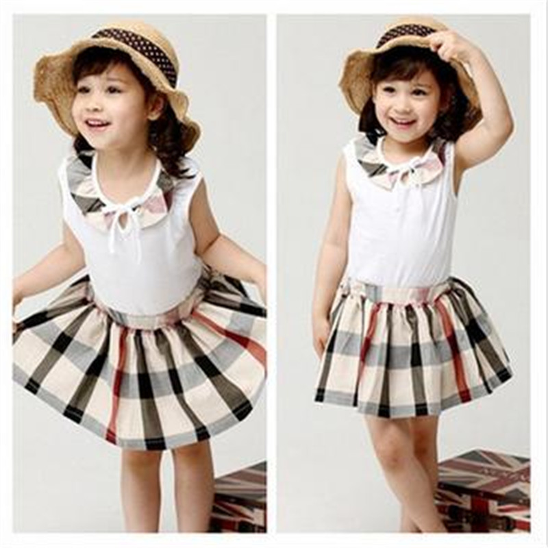 Classic Plaid Skirt Suit Girl 's Classic British Plaid Skirt + Vest  Two Pieces Suits classic