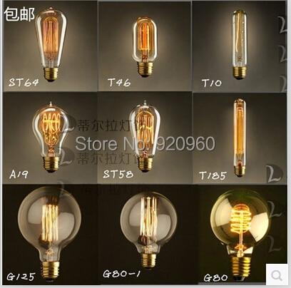 Desinger Light Retro E27 Energy-saving Lamps Edison Filament Bulbs Bulb ST64 ST58 A19 T45 G80 G125 T10 T185 T300 - DGY Indoor Lighting store