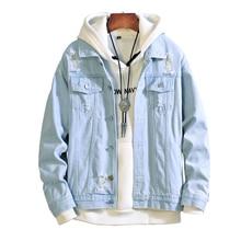 2019 Spring Autumn Light blue Mens Denim broken hole Jacket Fashion Thin Ripped Denim Jackets Men Jeans Outwear Male Cowboy coat