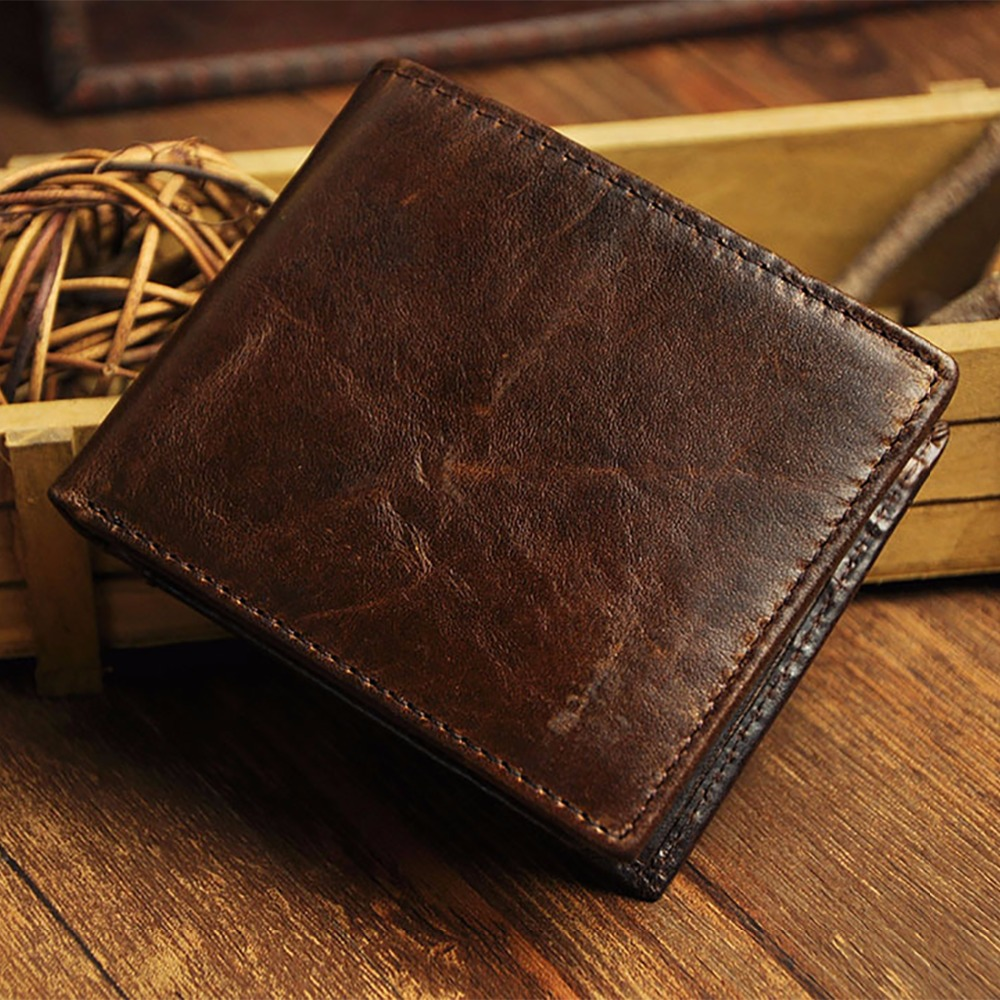 Men Short Wallet Oil Wax Cowhide Bifold Wallets Thin Design Vintage Genuine Leather High Quality Coin Purse Cash Card Holder 2017 new cowhide genuine leather men wallets fashion purse with card holder hight quality vintage short wallet clutch wrist bag